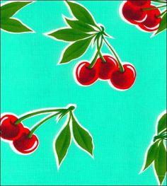 Cherry Aqua Oilcloth