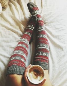knee-high socks, a cosy duvet and hot chocolate makes for a perfect trio when it's cold outside. What are your top three comforts when you don't want to brave the cold? #Momets2Give