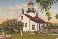 vintage nautical - Point Pinos Light House Pacific Grove California
