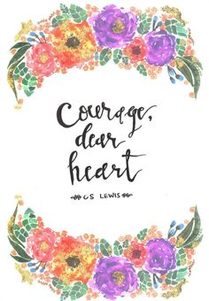 gold leafed C.S. Lewis quote in watercolor & floral: