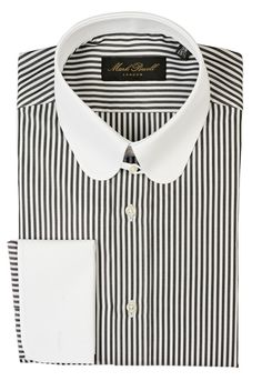 Round Tab Collar Shirt Stripe Black/White | Mark Powell