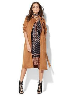 Ultra-Suede Trench Coat - New York & Company Coats For Women, Jackets For Women, Clothes For Women, Eva Mendes Collection, Suede Trench Coat, Diva Fashion, New Wardrobe, Autumn Winter Fashion, Fall 2016