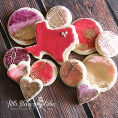 Deep in the heart of Texas! Metallic gold hand painted watercolor cookies. I <3 Texas DFW DALLAS FORT WORTH CAKES