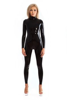Sexy Black Latex Catsuit Rubber Zentai Suit Neck Entry Rubber Bodysuit With Crotch Zip High Quality Women's Cat-suit Black Catsuit, Leather Catsuit, Leather Jumpsuit, Latex Bodysuit, Latex Suit, Sexy Latex, Latex Wear, Zentai Suit, Dressing