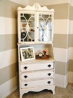 beautiful piece of furniture and love the striped walls Decor, Furniture, Painted Desk, Grand Designs, Home Projects, Home, Shabby Chic Furniture, Decorating Your Home, Striped Walls
