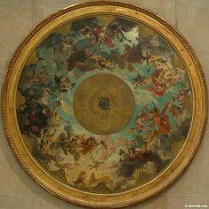Sous le plafond de Chagall se trouve conservé le plafond original de Lepneveu : ici la maquette conservée au musée d'Orsay