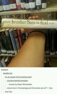 And the authors last name is Collins, not Winchester, by the way. <<< MISHA COLLINS AHHHHH <<<this post is honestly perfect in every way Sam Dean, Misha Collins, Fandoms Unite, Destiel, Jared Padalecki, Jensen Ackles, The Lord, Supernatural Memes, The Colt Supernatural
