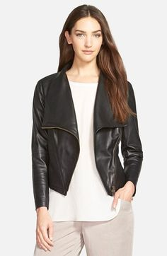 Eileen Fisher Drapey Leather Moto Jacket available at #Nordstrom