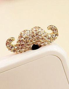 mustache cell phone charm dust plug phone charm by popieiphonecase
