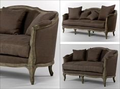 This classic aubergine brown sofa and loveseat set adds character to any space with its hand stitched linen upholstery, down fill cushions and limed grey oak wood finish. This sofa and loveseat includes throw pillows which adds comfort and style for easier matching. Sofa And Loveseat Set, Couch, Rustic Wood Furniture, Brown Sofa, Grey Oak, Hollywood Regency, Living Room Sets, Classic Style, Love Seat