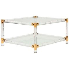 French Vintage Lucite & Brass Coffee Table