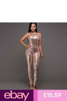 6693c4b74db5 New Ladies Golden Sequin Sleeveless Jumpsuit Catsuit Club Wear UK Size 8 -  14