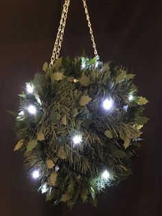 Large Artificial Hanging Topiary Balls Flowers Lights Green Ball Holly Ivy Bay #BALL Christmas Wreaths, Christmas Tree, Flower Lights, Topiary, Garden Furniture, Ivy, Balls, Home And Garden, Chandelier