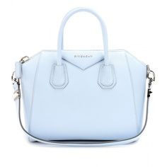 Givenchy Small Antigona Leather Tote ($2,280) ❤ liked on Polyvore featuring bags, handbags, tote bags, purses, accessories, bolsas, baby blue, blue tote, genuine leather handbags and genuine leather tote