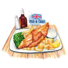 Food-illustration-British-favourite Fish-And-Chips