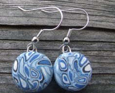 Unique Shades of Blue Retro Polymer Clay by clayandbeads4me, $5.00