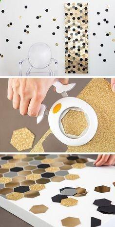 DIY: Hexagon Bling Art