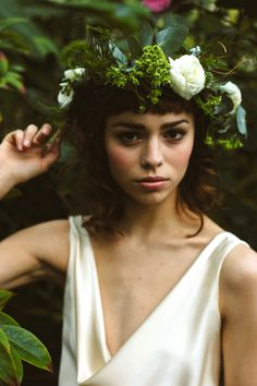 Winter Green shoot at Botanical Gardens, Sheffield. Image: Shelley Richmond / Dress: Kate Beaumont / Model: Katie Altoft / Hair: Niahm at Gypsy Rose Beauty Salon / Make Up: Amanda Bower / Flowers: Moss & Clover