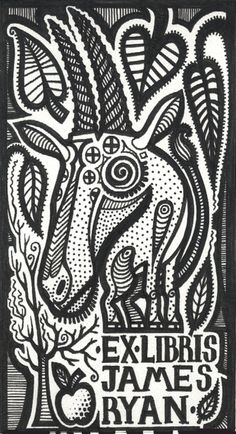 ≡ Bookplate Estate ≡ vintage ex libris labels︱artful book plates - ex libris james ryan - adam fisher