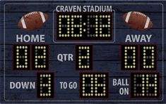 """""""This is a recreation of football score board ... It is 48\"""" x 30\"""". Easy application to wall and can be removed easy and placed somewhere else... If you have any questions or personal touches you want to add to the board please let me know and i can send you a proof..."""" Football Bulletin Boards, Football Scoreboard, Baby Boy Football, Football Rooms, Football Bedroom, Football Wall, Football Themes, Football Cakes, Football Fever"""