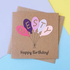 Bestie birthday card Handmade Happy Birthday card for Besty | Etsy