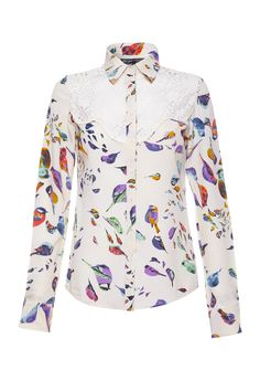 Lace, our amazing bird print and gold collar tips - what more does a shirt need?    Available at www.wondaland.co.uk