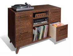 Drawers gently slide out, giving access to the very last record in the back.