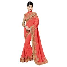 Peach Georgette Party Wear #Saree With Blouse- $47.10