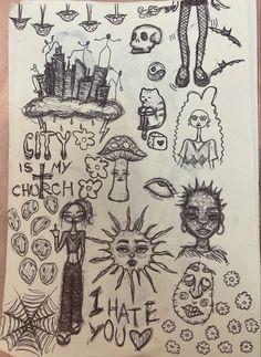 Arte Grunge, Grunge Art, Indie Drawings, Art Drawings Sketches Simple, Pretty Art, Cute Art, Hippie Painting, Trash Art, Art Diary