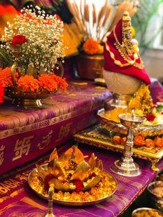 Our Varalakshmi ammavaru 2019 - DesiDIY Durga Maa, Shiva Shakti, Durga Goddess, Diy Diwali Decorations, Festival Decorations, Ganesh Bhagwan, Pooja Room Design, Wedding Mehndi Designs, Diwali Diy