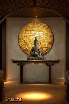 buddha decor A beautiful entrance foyer creates a wonderful feeling and undoubtedly creates an amazing impact on the individual entering the building Home Entrance Decor, Entrance Foyer, House Entrance, Entryway Decor, Entrance Design, Pooja Room Design, Room Door Design, Buddha Home Decor, Room Partition Designs
