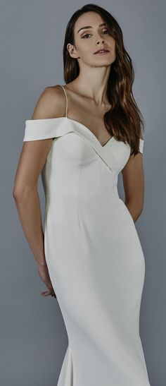 Crepe Slim Gown with Criss-Cross off the Shoulder Sleeve and Spaghetti Strap Shoulder Detail
