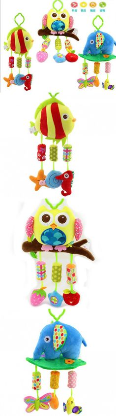 Hot Sale Baby plush Owl lathe hanging bells Baby toy for bed with 3 Wind chimes Owl elephant little fish soft toy $7.88