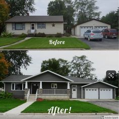 Before and after of home addition/remodel. Design LLC - Before and after of home addition/remodel. Design LLC Before and after of home addition/remodel. Home Exterior Makeover, Exterior Remodel, Ranch Exterior, Layout Design, Design Ideas, Ranch House Remodel, Pavillion, House Makeovers, Kitchen Makeovers