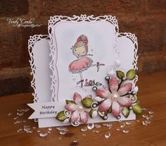 Stepper card made using Spellbinders Decorative labels 8 and Rose digi stamp from The Stamping Boutique, leaves and flowers made using stamps and dies from Heartfelt Creations. Made by Liz Walker.