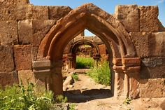 *RUINED ARMENIAN GOTHIC DOORWAY:  The Gothic  pointed arches in Ani pre date the European Gothic and are thought to be an influence for Western European Gothic. Ani archaelogical site on the Ancient Silk Road , Kars , Anatolia, Turkey