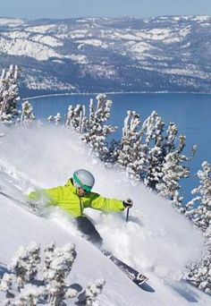 Skiing powder at Lake Tahoe, CA.This picture is mocking me! I would give almost anything to go skiing right now! Ski And Snowboard, Snowboarding, Lac Tahoe, Nevada, Go Skiing, Alpine Skiing, Rando, Winter Fun, Winter Snow