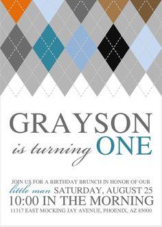 Argyle Invitation  Birthday  First Birthday  by IfOnlyLolaLee, $15.00