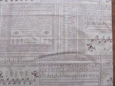Script Fabric Cotton Rhubarb & Ginger by Blackbird by THISPLUSTHAT, $3.25