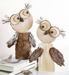 Wooden owls :-) Gloucestershire Resource C. - Fall Crafts For Kids Crafts To Make, Crafts For Kids, Arts And Crafts, Owl Crafts, Decor Crafts, Snowman Crafts, Diy Decoration, Home Decor, Wood Projects