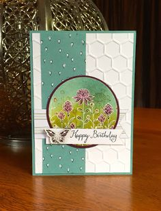 handmade birthday card from Scrapbooking Stuff: The Paper Players 279 .. luv the sponged colors over the white embossed outline wildflowers ... Stampin' Up!