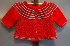 This is simple cardigan for a baby girl, it is worked top-down, seamless.