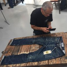 """mohsinsajid: """"Throw back to yesterday @denimboulevard when the legend Ruedi @swissjeansfreak came to hang out with us on our @endrime booth - Ruedi was super excited seeing our worn in 006 style and..."""