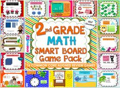 Second Grade Math Smart Board Game Pack - This pack contains 16 math SMARTBOARD games aligned with the second grade common core standards. The games are self-checking and use the same format, so once students learn how to play one, they'll know how to play them all. $