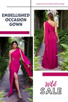 💥 EMBELLISHED OCCASION GOWN  Unforgettable and undeniably glamorous, this alluring one shoulder gown is a special occasion must-have. Jewel-embellished side gather and cape-like scarf flows elegantly down the back. Designed with a chic, right-front slit for easy movemen.  #Fashion #gown #outfit #womenswear #womensclothing #clothing #clothes #shoppingonline #chic #apparel #shopping #dresstoimpress All Fashion, Women's Fashion Dresses, Womens Fashion, Fashion Trends, One Shoulder Gown, Plaid Blazer, Gowns, Classic Outfits, Formal Dresses