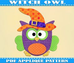 Witch Owl Applique Pattern Template Halloween Costume Owls PDF Download Instant Fabric Shirt Design Print Brother  Wall DIY  Baby Quilt