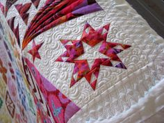 Another close up of Gwen's Dear Jane quilt using Kaffe Fassett fabric.  Now I know what fabric I am using on mine.