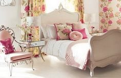 Cool Pink Flowers Curtains Themes and White Bedding Sets in Girls Bedroom Decorating Ideas