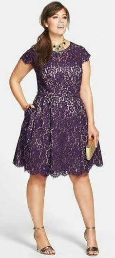 Plus Size Cocktail Dress Plus Size Holiday Party Dress Belted Lace Fit & Fla - Plus Sized Dress - Ideas of Plus Sized Dress - Plus Size Cocktail Dress Plus Size Holiday Party Dress Belted Lace Fit & Flare Dress (Plus Size) Plus Size Cocktail Dresses, Dress Plus Size, Plus Size Outfits, Curvy Fashion, Plus Size Fashion, Fashion Goth, Xl Mode, Party Frocks, Holiday Party Dresses