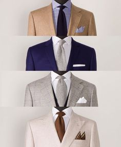 Fantastic combinations - jackets, dress shirt and pocket square